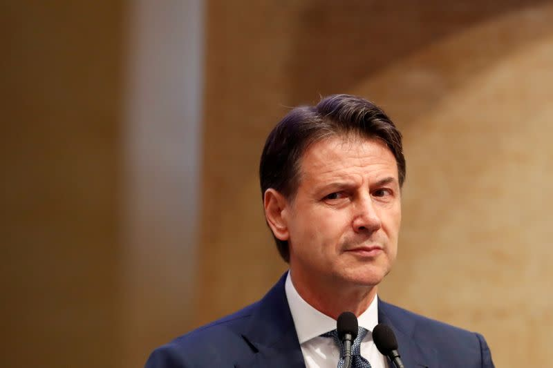 FILE PHOTO: Former Italian Prime Minister Giuseppe Conte speaks at a news conference, in Rome