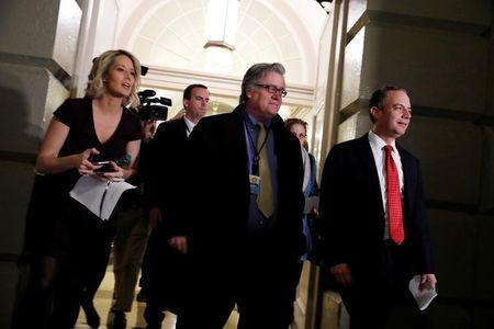 White House Chief of Staff Reince Priebus and Chief Strategist Steve Bannon arrive for a meeting about the American Health Care Act on Capitol Hill in Washington, D.C., U.S. March 23, 2017.  REUTERS/Aaron P. Bernstein