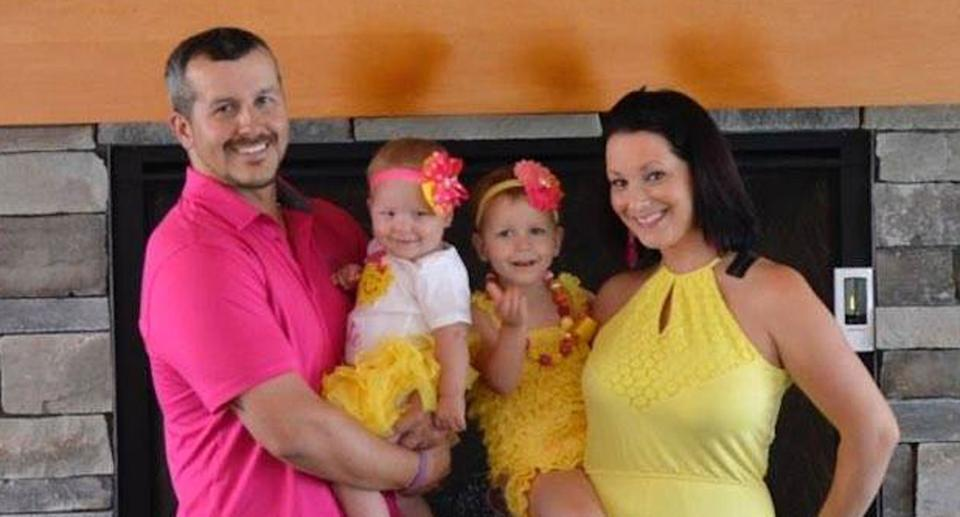 Christopher Watts pictured with wife Shannan and daughters Bella and Celeste.