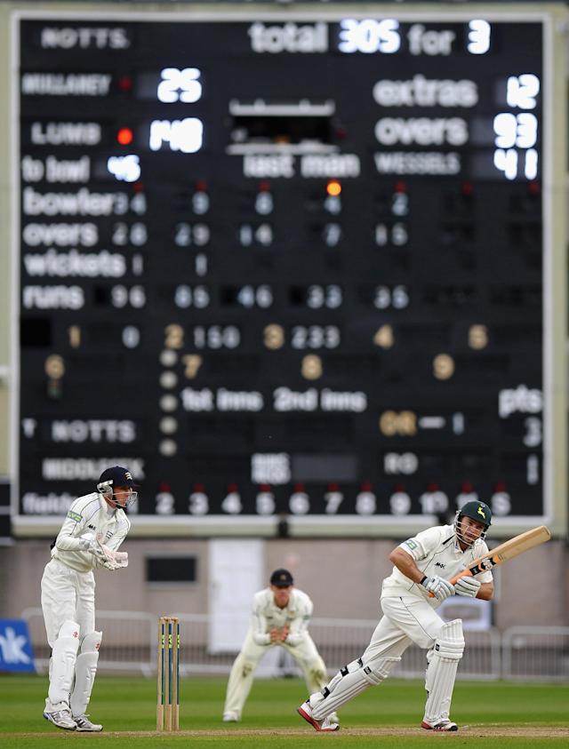NOTTINGHAM, ENGLAND - MAY 10: Michael Lumb of Nottinghamshire hits out past a century during the LV County Championship match between Nottinghamshire and Middlesex at Trent Bridge on May 10, 2012 in Nottingham, England. (Photo by Laurence Griffiths/Getty Images) *** BESTPIX ***