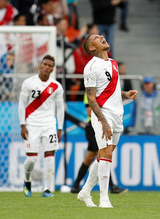 Soccer Football - World Cup - Group C - France vs Peru - Ekaterinburg Arena, Yekaterinburg, Russia - June 21, 2018 Peru's Paolo Guerrero reacts after conceding their first goal scored by France's Kylian Mbappe REUTERS/Darren Staples