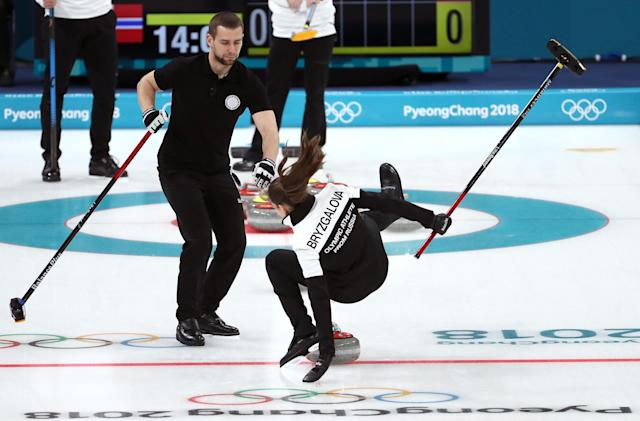 <p>Anastasia Bryzgalova of Olympic Athletes from Russia falls as she competes against Norway during the Curling Mixed Doubles Bronze Medal Game on day four of the PyeongChang 2018 Winter Olympic Games at Gangneung Curling Centre on February 13, 2018 in Gangneung, South Korea. (Photo by Jamie Squire/Getty Images) </p>