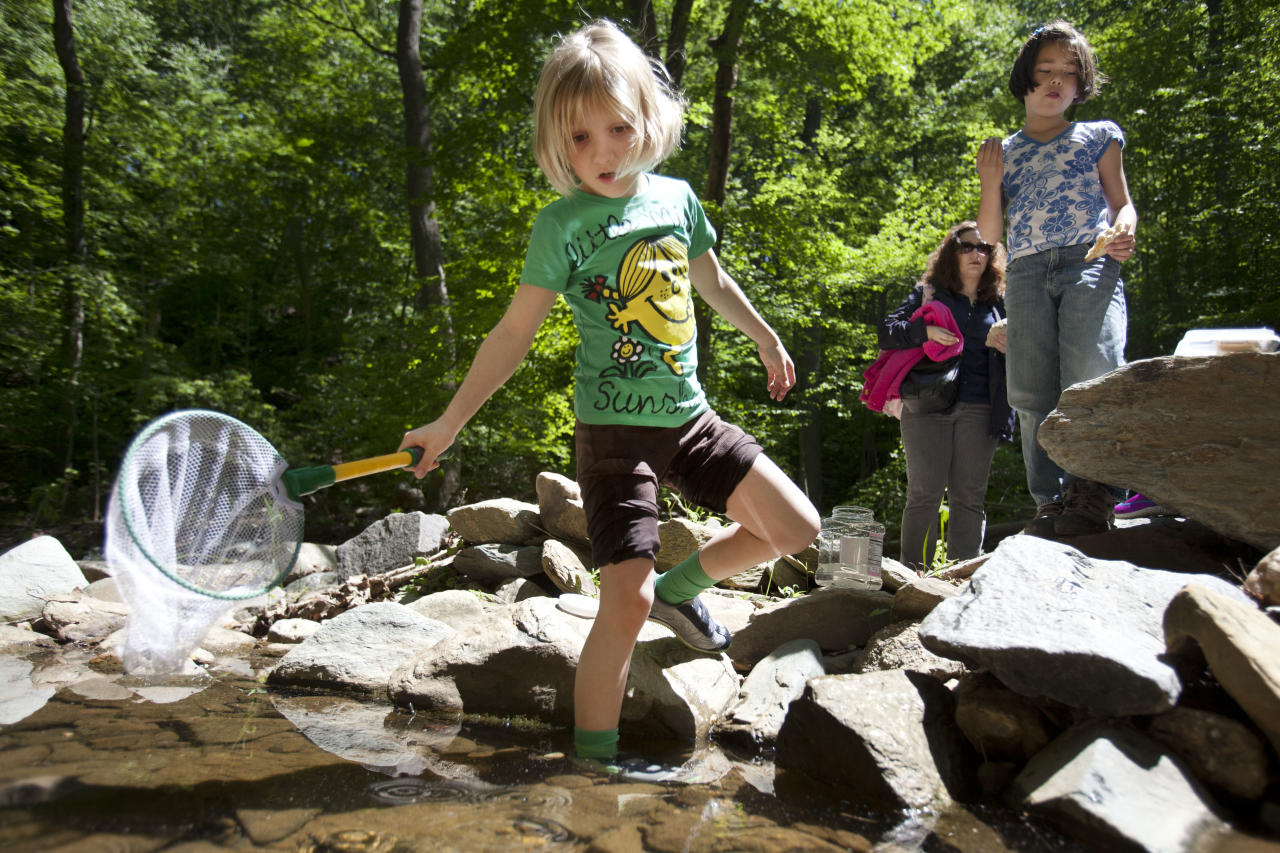 Lori Anne Madison, 6, of Lake Ridge, Va., left, hunts for tadpoles with her mother, Sorina V. Madison, and friend Chloe Moskowitz, 7, of Vienna, Va., in McLean, Va., on Friday, May 11, 2012. Lori Anne is the youngest contestant in the 2012 National Spelling Bee. (AP Photo/Jacquelyn Martin)