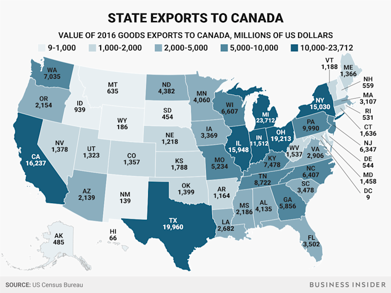 canada exports by state