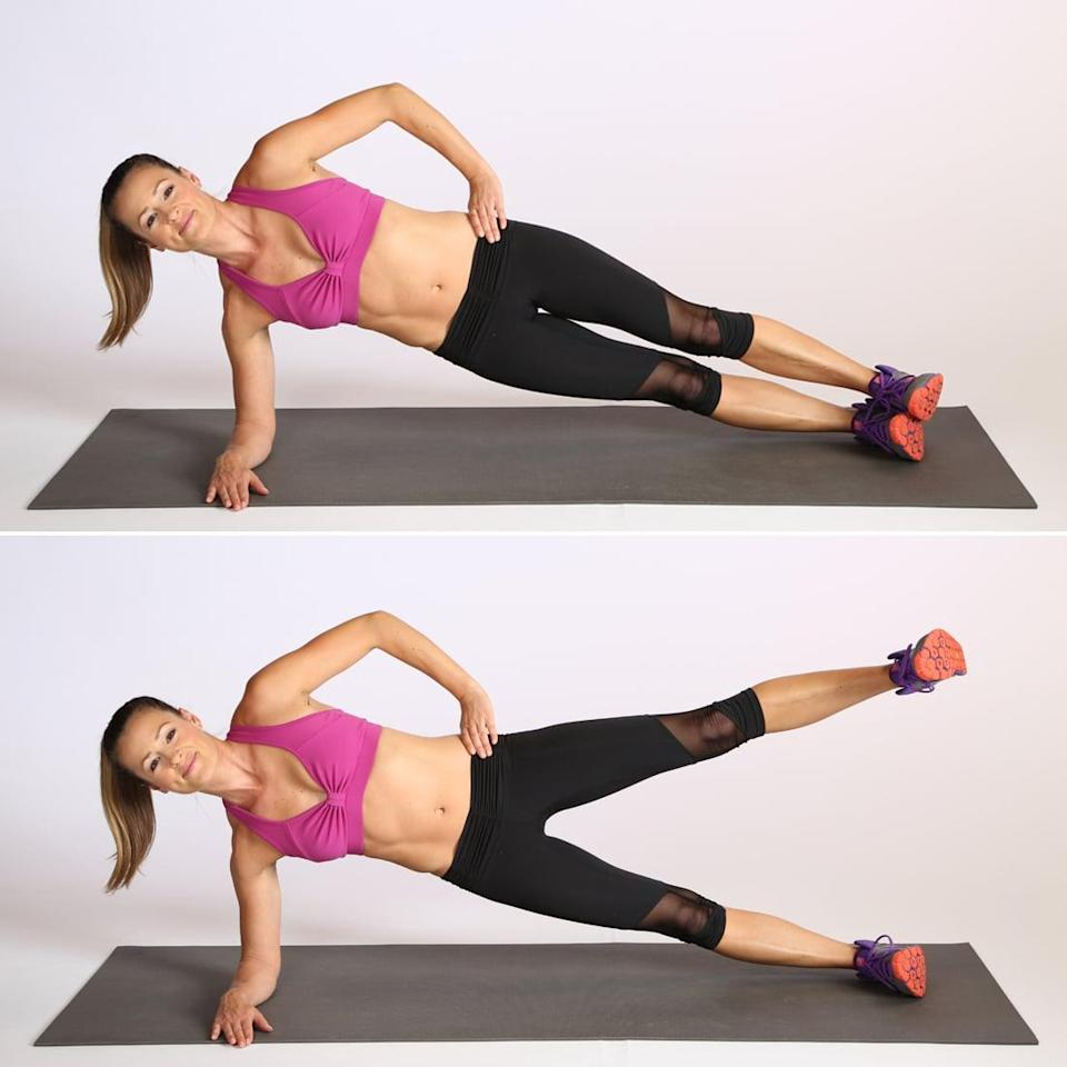 <ul> <li>Place your right elbow on the ground. Extend both legs out so that your body is in one straight line and you're balancing on the outside edge of your right foot.</li> <li>Flex both feet if you can, and either rest your top hand on your upper hip or extend it in the air. Keeping your spine lengthened and your abs engaged, lift your left leg up just higher than your top hip. Then slowly lower it back to your bottom leg.</li> </ul>