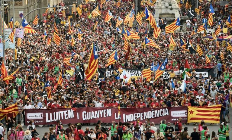 """Thousands of Catalan pro-independence supporters answered the call to march under their """"Estelada"""" flags to mark the """"Diada"""", the region's national day (AFP/Josep LAGO)"""