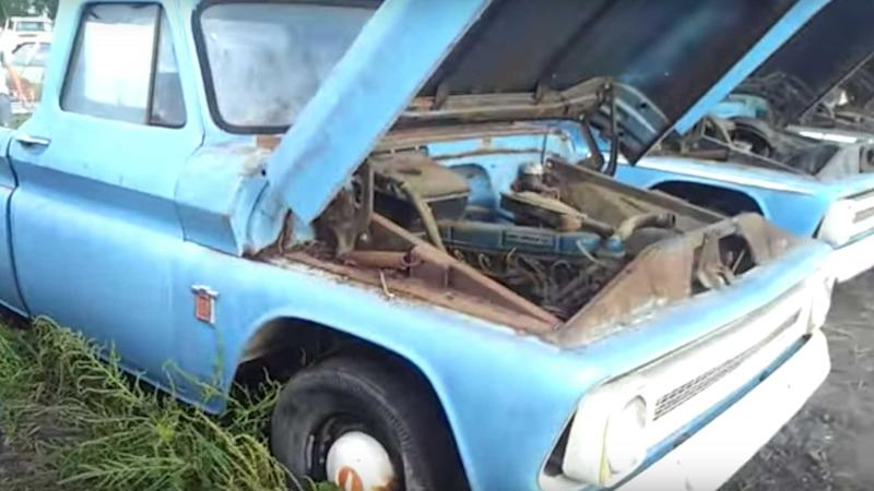 A Fleet Of Never-Driven Vintage Chevy Trucks Found In Field