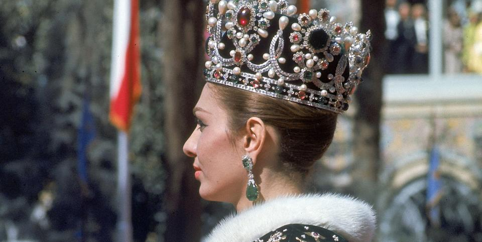 Photo credit: Empress Farah wearing her new crown leaving coronation ceremony of her husband Shah Mohammed Reza Pahlevi (Iran, october 1967)/ Photo by Carlo Bavagnoli/The LIFE Picture Collection via Getty Images