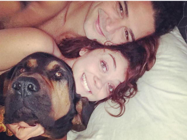"<p>Wowza! The <em>Modern Family</em> actress certainly isn't keeping her relationship with <em>Bachelor in Paradise</em>'s Wells Adams on the down low anymore. She posted this revealing photo of the two cuddled up in bed with her pup, Carl. ""Two more reasons to smile again. My big [spoon emoji] and furry [spoon emoji],"" she captioned the intimate shot. The cuties have just recently gone public, dressing up together on Halloween. (Photo: <a href=""https://www.instagram.com/p/Bbct1KjFbRE/?taken-by=sarahhyland"" rel=""nofollow noopener"" target=""_blank"" data-ylk=""slk:Sarah Hyland via Instagram"" class=""link rapid-noclick-resp"">Sarah Hyland via Instagram</a>) </p>"