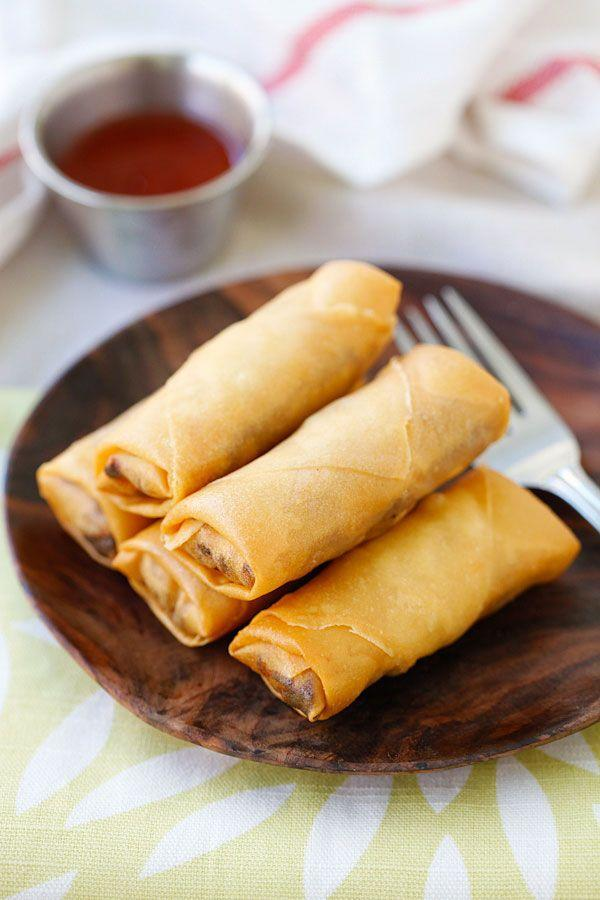 "<p>Take classic spring rolls and deep fry them to golden perfection.</p><p>Get the recipe from <a href=""http://rasamalaysia.com/recipe-fried-spring-rolls/"" rel=""nofollow noopener"" target=""_blank"" data-ylk=""slk:Rasa Malaysia"" class=""link rapid-noclick-resp"">Rasa Malaysia</a>.</p>"
