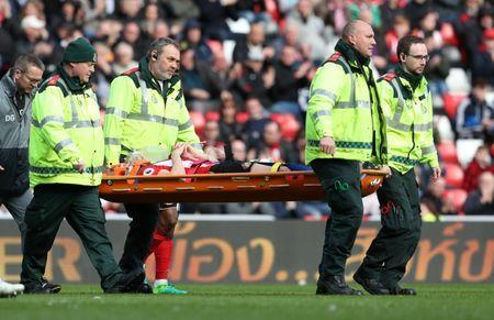 Britain Soccer Football - Sunderland v West Ham United - Premier League - Stadium of Light - 15/4/17 Sunderland's Billy Jones is stretchered off after sustaining an injury Reuters / Scott Heppell Livepic