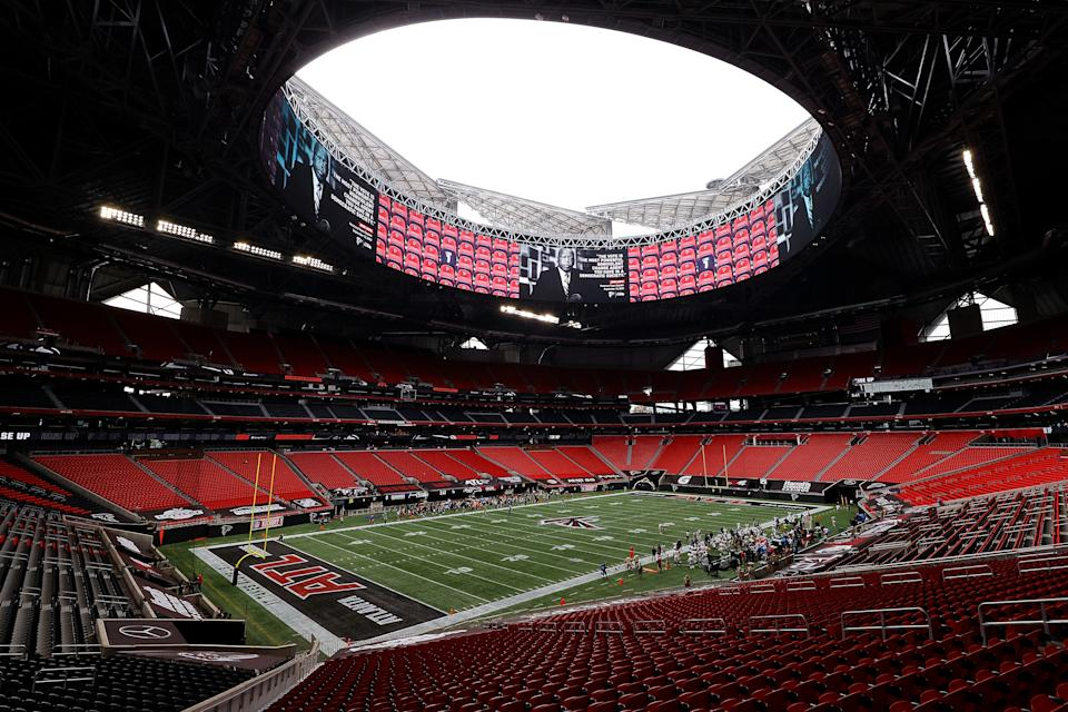 ATLANTA, GEORGIA - SEPTEMBER 13:  A view of Mercedes-Benz Stadium as the Atlanta Falcons honor the late John Lewis as team captain prior to the game against the Seattle Seahawks on September 13, 2020 in Atlanta, Georgia. (Photo by Kevin C. Cox/Getty Images)