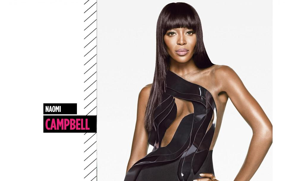 <p>Naomi Campbell has slayed on countless runways with her blunt bangs, long, layered hair, and contoured cheekbones. (Photo: Getty Images) </p>