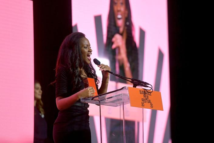 Maimouna Doucoure speaks onstage during the 2020 Sundance Film Festival Awards Night Ceremony at Basin Recreation Field House on February 01, 2020 in Park City, Utah. (Photo by Matt Winkelmeyer/Getty Images)