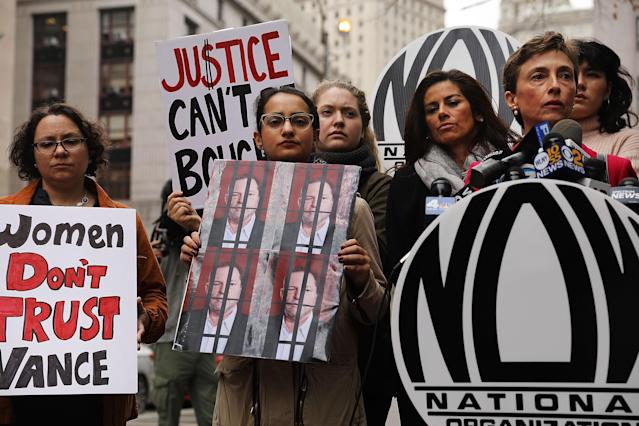 Members of the National Organization for Women (NOW) outside of Manhattan Criminal Court, where Manhattan District Attorney Cyrus R. Vance Jr., has his office, Oct. 13, 2017. Vance has come under criticism for his decision not to pursue sexual abuse charges against movie producer Harvey Weinstein in 2015. (Photo: Spencer Platt/Getty Images)