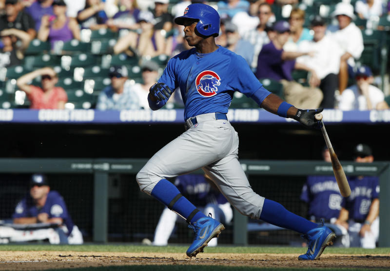 FILE - In this July 21, 2013, file photo, Chicago Cubs' Alfonso Soriano grounds out to drive in a run against the Colorado Rockies in the ninth inning of a baseball game in Denver. The New York Yankees have acquired Soriano in a trade with the Cubs on Friday, July 26, 2013, returning the seven-time All-Star to the team where he began his career. The Cubs received minor league right-hander Corey Black and cash from New York. (AP Photo/David Zalubowski, File)