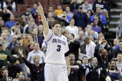 Creighton's Doug McDermott reacts after a Cincinnati turnover in the final minute of the second half of a second-round game at the NCAA college basketball tournament, Friday, March 22, 2013, in Philadelphia. Creighton won 67-63. (AP Photo/Matt Slocum)