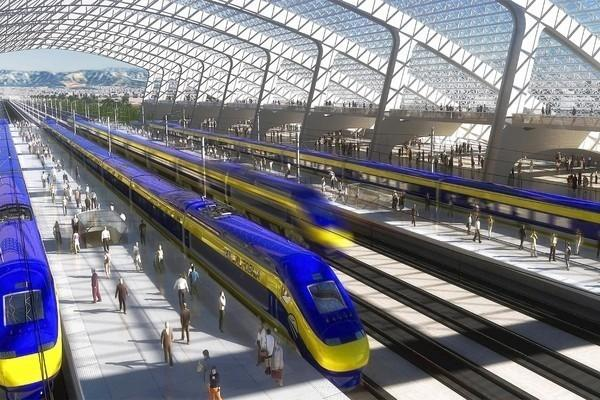 "An artist's rendering of a proposed California high-speed rail station is shown. <span class=""copyright"">(California High-Speed Rail Authority)</span>"