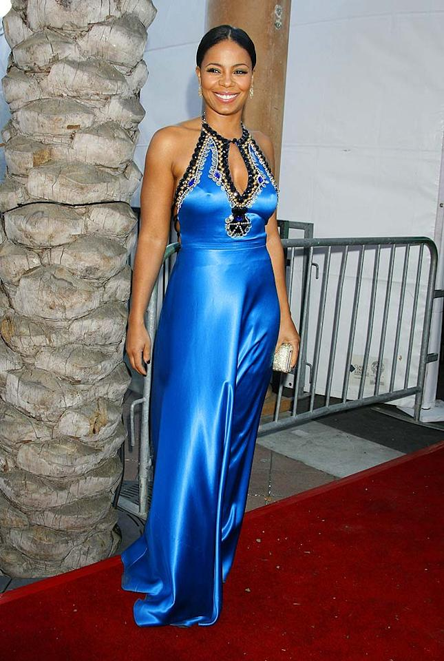 "Sanaa Lathan shines in a satin Jenny Packham gown, complete with an embellished keyhole. Jeffrey Mayer/<a href=""http://www.wireimage.com"" target=""new"">WireImage.com</a> - February 14, 2008"