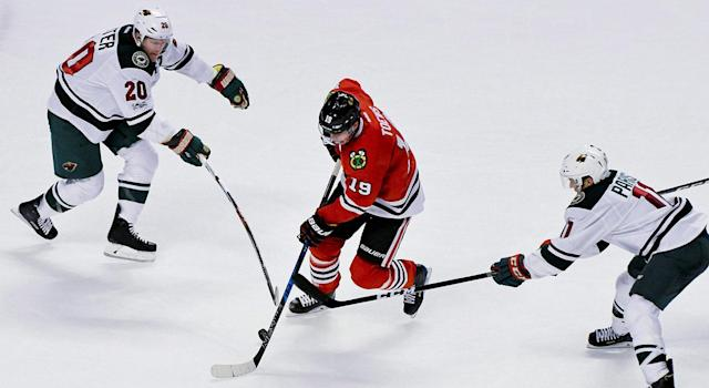 <p>The Blackhawks signed Jonathan Toews to an eight-year, $84M contract in 2014. (Matt Marton/AP) </p>