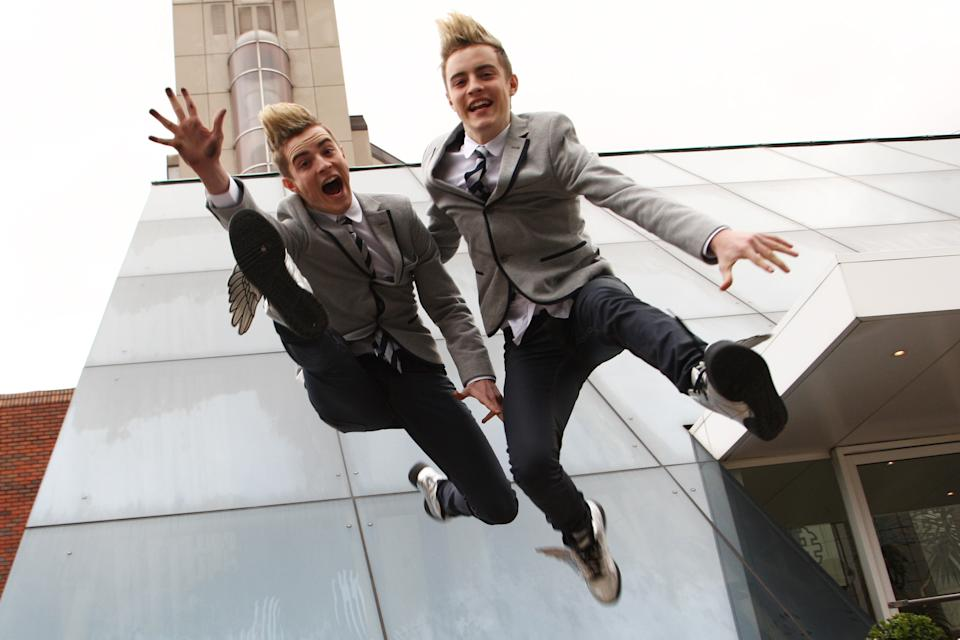 LONDON, ENGLAND - NOVEMBER 24: John and Edward Grimes pose for portraits fresh from being ousted from reality show X Factor on November 24, 2009 in London, England. (Photo by Dave Hogan/Getty Images)