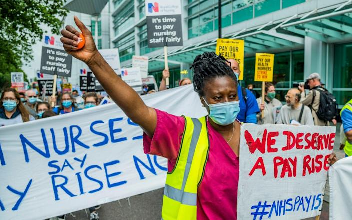 A march for NHS pay justice, patient safety and an end to privatisation is taking place in London today - Guy Bell / Alamy Live News