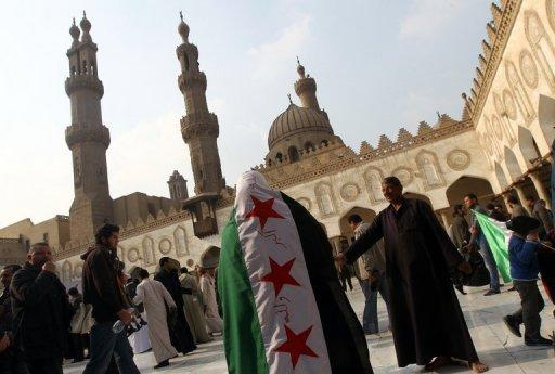 <p>A rally in support of the Syrian people and against Syria's President Bashar al-Assad in Al-Azhar mosque in Cairo. Russia said Saturday there was still a chance of finding a political solution to the Syrian conflict but warned that President Bashar al-Assad would not be persuaded to leave power.</p>
