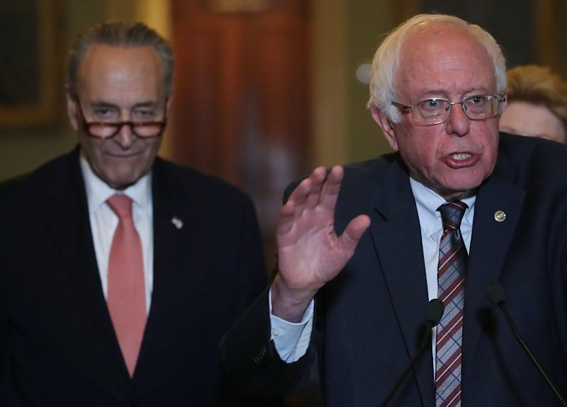"Senate Minority Leader Chuck Schumer (D-N.Y.) is ""feeling the bern"" when it comes to the $15 minimum wage. (Mark Wilson/Getty Images)"