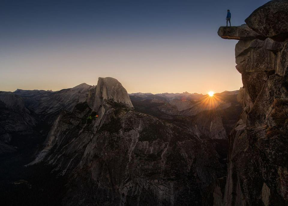 <p>You don't have to be a daredevil and climb out on a cliff to get a great seat for the sun rising over Half Dome.</p>