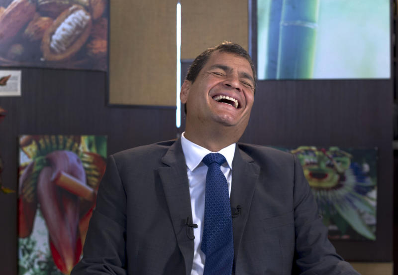 "Ecuador's President Rafael Correa, laughs during a interview with The Associated Press in Portoviejo, Ecuador, Sunday, June 30, 2013. Correa said he had no idea Snowden's intended destination was Ecuador when he fled Hong Kong for Russia last week. He said the Ecuadorean consul in London committed ""a serious error"" without consulting any officials in the capital, Quito, when the consul issued a letter of safe passage for Snowden.(AP Photo/Martin Mejia)"
