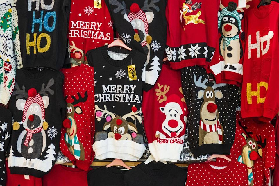 """<p>There are options abound, and you don't have to step foot in a brick-and-mortar store to find the perfect ugly Christmas sweater. Browse online until you find just the right one, then wear yours to your virtual office party or plan a special family dinner—ugly sweaters mandatory. Of course, you could also DIY one yourself. Want something that's still festive but not as intentionally tacky? Check out these <a href=""""https://www.oprahmag.com/style/g29527252/cute-christmas-sweaters/"""" rel=""""nofollow noopener"""" target=""""_blank"""" data-ylk=""""slk:cute sweater options"""" class=""""link rapid-noclick-resp"""">cute sweater options</a>.</p><p><a class=""""link rapid-noclick-resp"""" href=""""https://www.amazon.com/daisysboutique-Christmas-Reindeer-Pullover-Lighting/dp/B073CF61BG?tag=syn-yahoo-20&ascsubtag=%5Bartid%7C10072.g.34454588%5Bsrc%7Cyahoo-us"""" rel=""""nofollow noopener"""" target=""""_blank"""" data-ylk=""""slk:SHOP UGLY SWEATER"""">SHOP UGLY SWEATER</a></p>"""