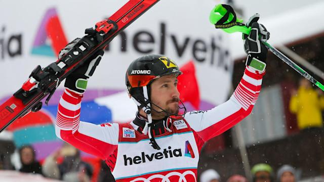 FIS Alpine World Cup history was made in Adelboden as eight-time overall champion Marcel Hirscher claimed victory in the slalom.