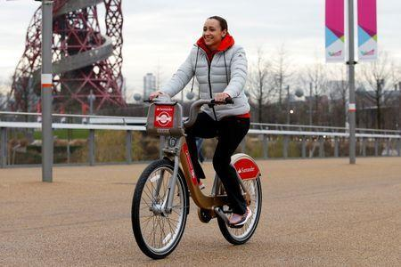 Athletics - Jessica Ennis-Hill launches extension of Santander Cycles to Queen Elizabeth Olympic Park - Queen Elizabeth Olympic Park - 21/1/16 Jessica Ennis Hill at the launch of Santander Cycles expansion of new docking stations at Queen Elizabeth Olympic Park, including some special edition gold cycles, to reflect the link to the London 2012 cycling legacy Action Images via Reuters / Peter Cziborra Livepic