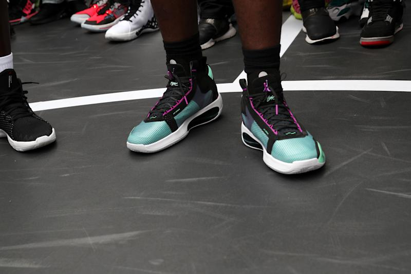 NEW YORK, NEW YORK - SEPTEMBER 07: A view the Air Jordan 34 worn by Zion Williamson at the Jordan Brand launch of the Air Jordan 34 in Harlem on September 07, 2019 in New York City. (Photo by Johnny Nunez/WireImage)