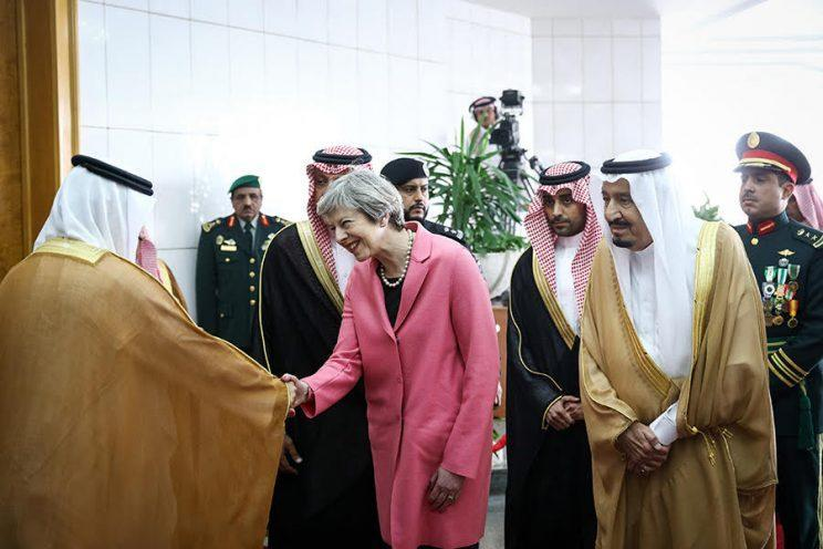 Theresa May, the British prime minister, in Saudi Arabia. (Photo: Getty Images)