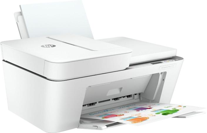 """<strong>Pages Per Minute: </strong>In color, this printer can print 5.5 pages per minutes and in monochrome, the speed bumps up to 8.5 pages per minute. <br><strong>Monochrome Vs. Color: </strong>Yes, you can print in color with this one. <br><strong>Cartridge Details: </strong>It's compatible with HP 67 Black and Tri-Color cartridges, the HP 67XL Black and Tri-color cartridges, and the HP 67XXL Black and Tri-Color cartridges. <br><strong> What Else Can This Printer Do: </strong>It's the perfect all-in-one printer that can scan and copy, too.<br><strong> $$$: </strong><a href=""""https://fave.co/3fx2elc"""" rel=""""nofollow noopener"""" target=""""_blank"""" data-ylk=""""slk:Find it for $100 at Best Buy"""" class=""""link rapid-noclick-resp"""">Find it for $100 at Best Buy</a><strong>.</strong>"""
