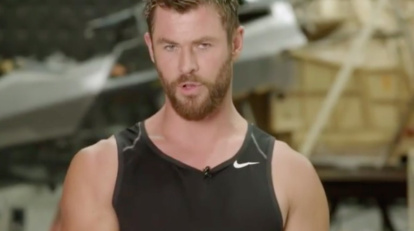 Chris Hemsworth is pretty confident he can win a fight with Avengers action figures in new clip he posted to Instagram