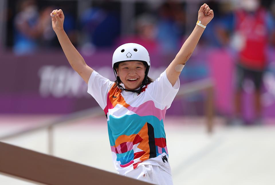 TOKYO, JAPAN - JULY 26:  Momiji Nishiya of Team Japan celebrates during the Women's Street Final on day three of the Tokyo 2020 Olympic Games at Ariake Urban Sports Park on July 26, 2021 in Tokyo, Japan. (Photo by Patrick Smith/Getty Images)