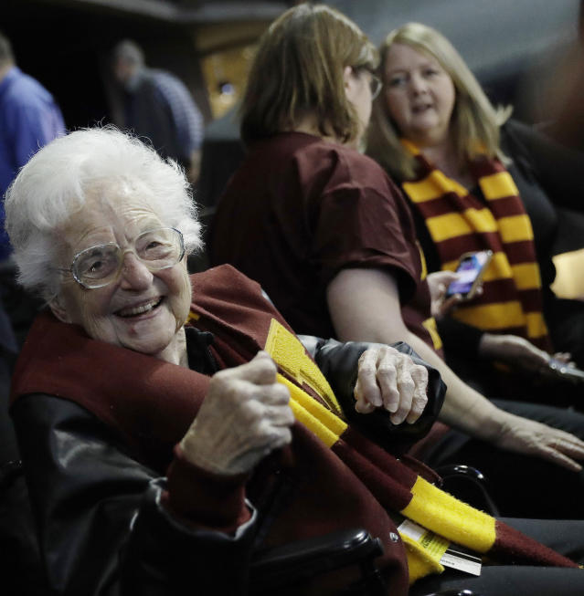Sister Jean Dolores Schmidt has seemingly been a godsend for the Loyola Chicago Ramblers, who are making their first Final Four appearance since 1963, when they won the national title. (AP)