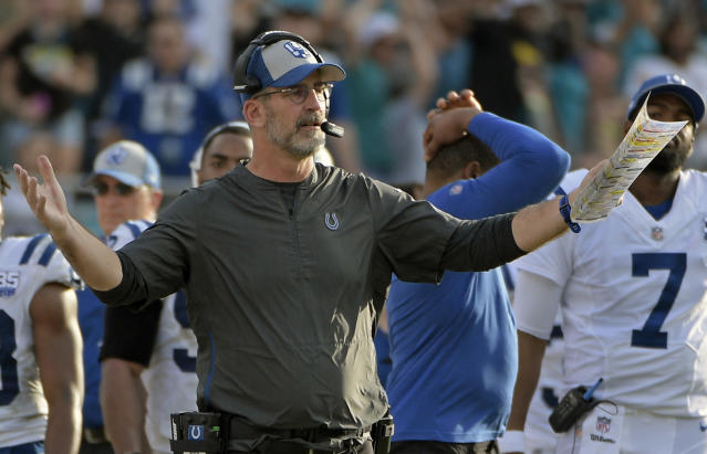 FILE - In this Dec. 2, 2018, file photo, Indianapolis Colts head coach Frank Reich questions a call by officials during the second half of an NFL football game against the Jacksonville Jaguars, in Jacksonville, Fla. The Colts play the Kansas City Chiefs Chiefs in a divisional playoff game on Saturday, Jan. 12, 2019.(AP Photo/Phelan M. Ebenhack, File)