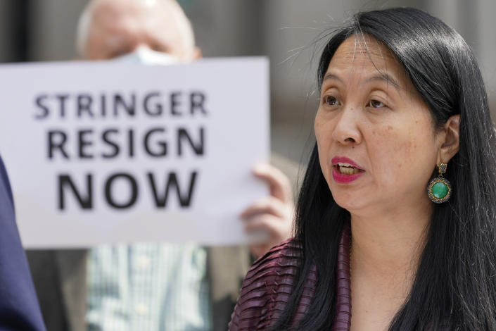 FILE - In this April 28, 2021, file photo, lobbyist Jean Kim speaks to reporters during a news conference in New York. Kim has accused mayoral candidate Scott Stringer of unwanted groping when she was working on his unsuccessful campaign for public advocate in 2001. (AP Photo/Mary Altaffer, File)