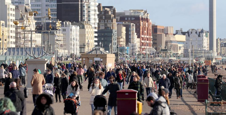 People on the sea front in Brighton during England's third national lockdown.
