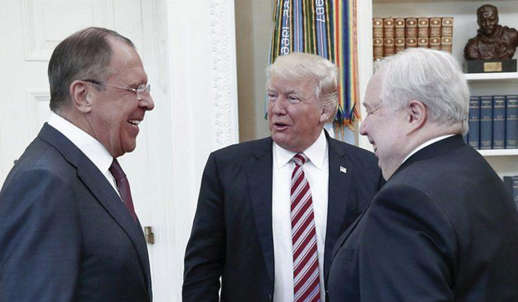 President Trump meets with Russian Foreign Minister Sergey Lavrov, left, and Russian Ambassador Sergey Kislyak at the White House on May 10, 2017. (Photo: Russian Foreign Ministry Photo via AP)