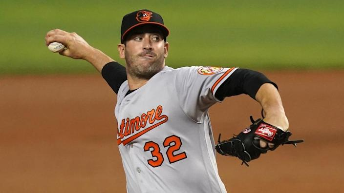 Apr 20, 2021; Miami, Florida, USA; Baltimore Orioles starting pitcher Matt Harvey (32) delivers a pitch in the 2nd inning against the Miami Marlins at loanDepot park.