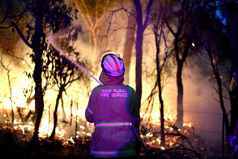 This photo taken on December 7 shows firefighters conducting back burning measures to secure residential areas from encroaching bushfires at the Mangrove area, some 90-110 kilometres north of Sydney. Source: Getty