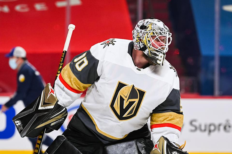 MONTREAL, QC - JUNE 24: Look on Las Vegas Golden Knights goalie Robin Lehner (90) during the NHL Stanley Cup Playoffs Semifinals game 6 between the Las Vegas Golden Knights versus the Montreal Canadiens on June 24, 2021, at Bell Centre in Montreal, QC (Photo by David Kirouac/Icon Sportswire via Getty Images)