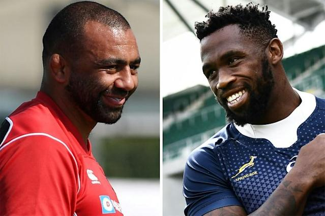 Michael Leitch (L) will lead Japan against Siya Kolisi's South Africa (AFP Photo/Charly TRIBALLEAU, Anne-Christine POUJOULAT)