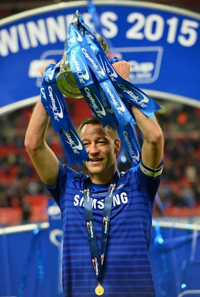 Chelsea's captain John Terry is pictured with the League Cup trophy in 2015