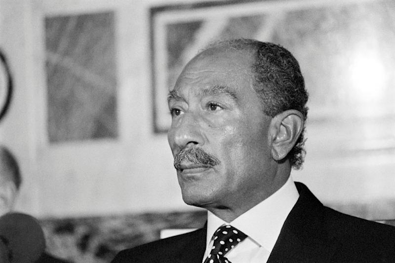 Egypt's President Anwar Sadat, pictured in 1981, signed the ground-breaking 1979 Egypt–Israel Peace Treaty with Israeli Prime Minister Menachem Begin (AFP Photo/GEORGES BENDRIHEM)