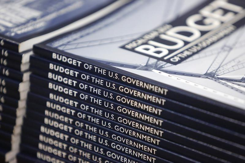 Copies of President Barack Obama's proposed 2016 budget are displayed for sale at the Government Printing Office in Washington